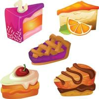mixed delicious slices of cake vector