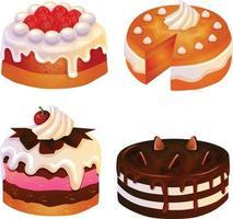 set of cake tart icon set vector