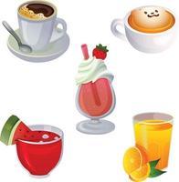 various drink breakfast game item icon set vector