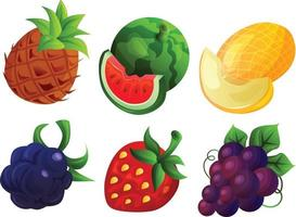 various cute fruit game icon set vector
