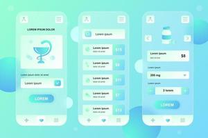 Medical services glassmorphic elements kit for mobile app vector