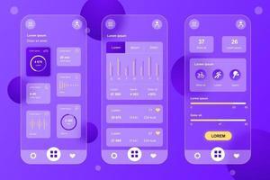 Health Tracking glassmorphic elements kit for mobile app vector
