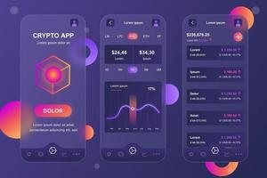 Cryptocurrency glassmorphic elements kit for mobile app vector