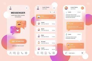 Messenger glassmorphic elements kit for mobile app vector