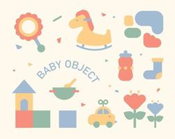 Cute icons for babies. flat design style minimal vector illustration.