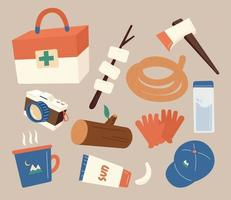 Equipment and camping objects necessary for survival. flat design style minimal vector illustration.