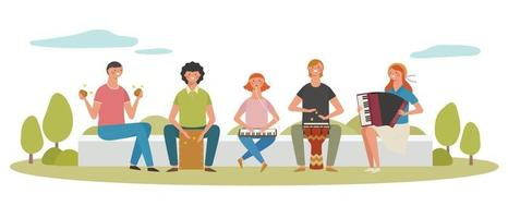 Young people playing musical instruments and singing in the street. vector