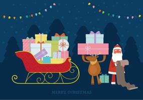 Santa and the reindeer are loading presents on the sleigh, looking at the list. vector