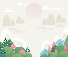 Mystic nature background with Asian traditional atmosphere. vector