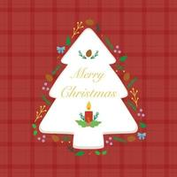 Illustration with tree and plant decorations on checkered background. vector