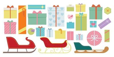 Various designs of sleds and gift boxes. vector