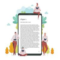 People are reading books leaning on giant digital e-book devices. vector