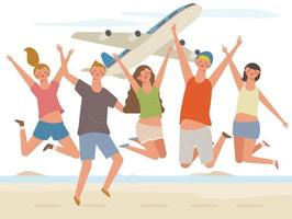 Young people come on a trip and are jumping vigorously. A plane is flying behind them. vector
