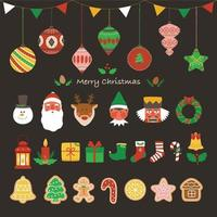 A collection of Christmas ornaments. vector