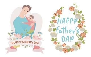 Text design decorated with flowers and dad character holding baby. vector