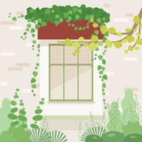 Window in the garden. There is ivy on the window. vector