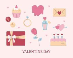 Valentine's Day romantic icons. flat design style minimal vector illustration.