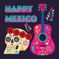 festival tradicional mexicano día de la ilustración del cartel muerto. calavera en una corona y una guitarra con patrones de colores. vector