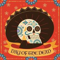 festival tradicional mexicano día de la ilustración del cartel muerto. una calavera con un patrón de colores lleva un sombrero. vector