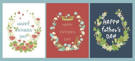 Father's day card design decorated with flowers. vector