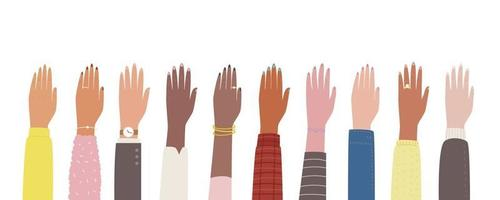 Hands of different races are raised up. vector