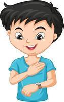Boy cartoon character looking at wrist watch vector