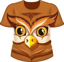 Front of t-shirt with owl face pattern vector