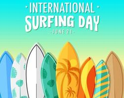 International Surfing Day banner with many surfboards vector