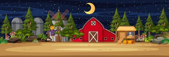 Farmland horizontal scene with barn and windmill at night time vector