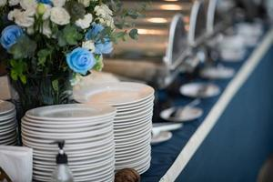 Buffet food, catering food party at a restaurant, mini canapes, snacks, and appetizers photo