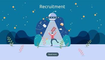 Job hiring and online recruitment concept with tiny people character. agency interview. select a resume process. template for web landing page, banner, presentation, social media. Vector illustration