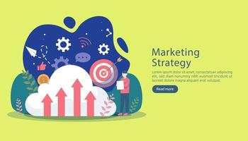 digital marketing strategy concept with tiny people character. online ecommerce business in modern flat design template for web landing page, banner, presentation, social media. Vector illustration