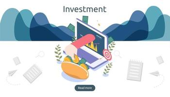 management or return on investment concept. online business strategic for financial analysis. isometric design vector illustration. template for web landing page, banner, presentation, social media.