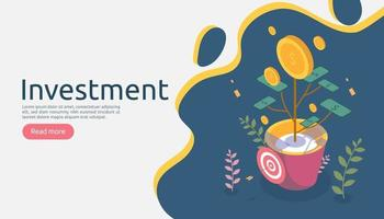 Business management growth concept. Returns on investment isometric vector illustration with money coin plant in flower pot. template for web landing page, banner, presentation, social media.
