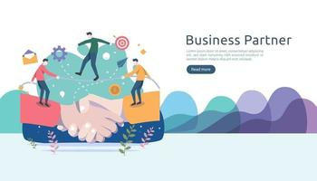 Business partnership relation concept with hand shake and tiny people character. team working together template for web landing page, banner, presentation, mockup, social media. Vector illustration