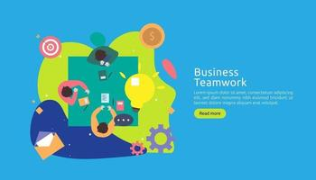 teamwork business brainstorming Idea concept with big yellow light bulb lamp, tiny people character. creative innovation solution. template for web landing page, banner, presentation, social media vector