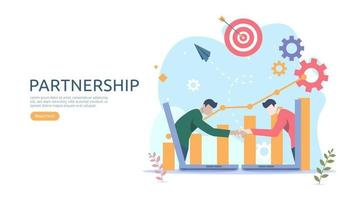 Business partnership relation concept idea with tiny people character. team working partner together template for web landing page, banner, presentation, mockup, social media. Vector illustration