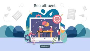 online recruitment or Job hiring concept with tiny people character. select a resume process. agency interview. template for web landing page, banner, presentation, social media. Vector illustration