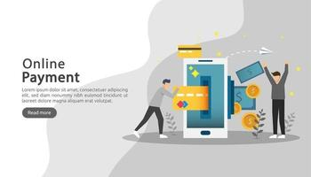 mobile payment or money transfer concept. E-commerce market shopping online illustration with tiny people character. template for web landing page, banner, presentation, social media, print media vector