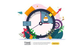 time management and procrastination concept. planning and strategy for business solutions with clock, calendar and tiny people character for presentation, social and print media. Vector illustration