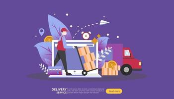 Online Delivery service. order express tracking concept with tiny character and cargo box truck. template for web landing page, banner, presentation, social media and print media. Vector illustration