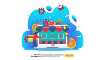 Online shopping banner. Business concept for Sale e-Commerce with smartphone and tiny people character. template for web landing page, presentation, social media and print media. Vector illustration