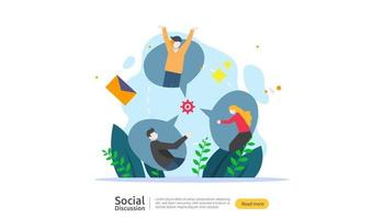 social media conversation network. Chat dialogue bubbles communication people character. community chatting online. news discuss landing page template, presentation, print media. Vector illustration