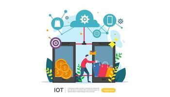 IOT smart house monitoring concept for industrial 4.0 home technology on laptop screen of internet of things connected objects. web landing page template, banner, print media. Vector illustration