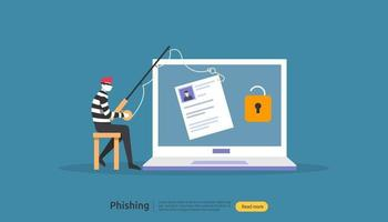 password phishing attack concept landing page template. heacker stealing personal internet security with tiny people character. web, banner, presentation, social, and print media. Vector illustration