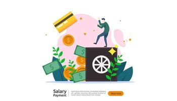 salary payment concept. Payroll, annual bonus, income, payout with paper calculator and people character. web landing page template, banner, presentation, social, and print media. Vector illustration