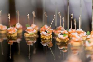 Sandwich, mini canapes, buffet food, catering food party at restaurant, snacks and appetizers, mini cake, food for the event photo