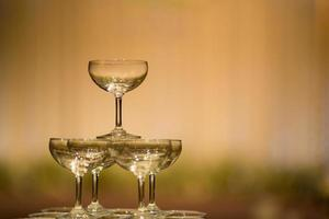 Empty wine glass with blur background photo