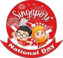 Singapore National Day with children hold Singapore flag cartoon character vector