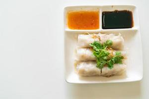 Chinese Steamed Rice Noodle Rolls With Crab photo